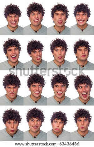 Young Man Collection of Expressions on White Background - stock photo