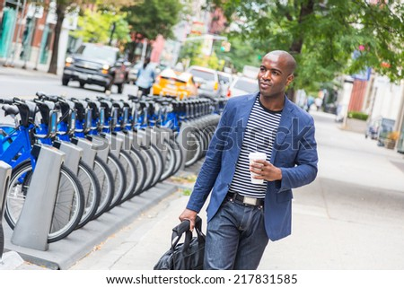Young Man Commuting in New York - stock photo