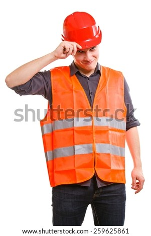 Young man construction worker builder foreman in orange safety vest and red hard hat isolated on white. Safety in industrial work. Studio shot. - stock photo