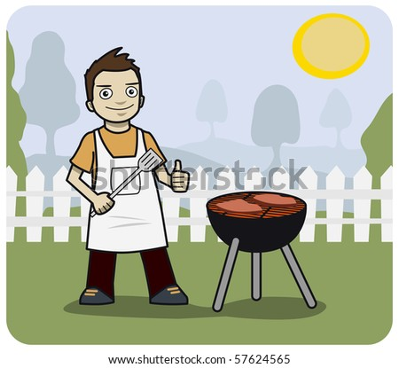 Young man cooking at a BBQ. - stock photo