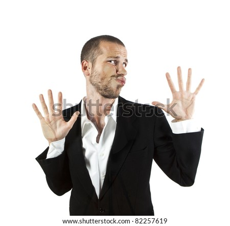 young man crushed on glass - stock photo