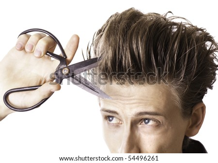 how to cut male hair with scissors