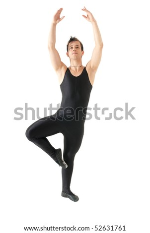 Young man dancing ballet isolated on white background, full lenght portrait. - stock photo