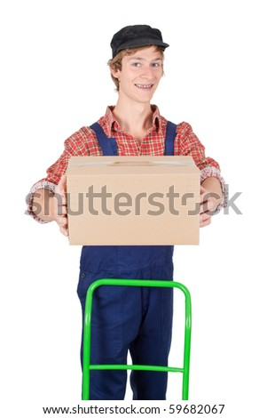 Young man delivering a parcel - isolated on white - stock photo