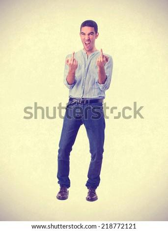 young man disagreement gesture - stock photo
