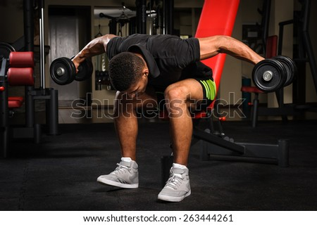 Young man doing Seated Bent Over Dumbbell Reverse Fly workout in gym - stock photo