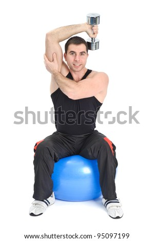 Young man doing Seated Dumbbell One Arm Triceps Extensions on Fitnes Ball, phase 1 of 2.
