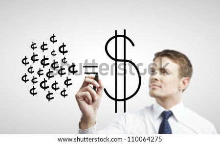 young man drawing a cash equality - stock photo