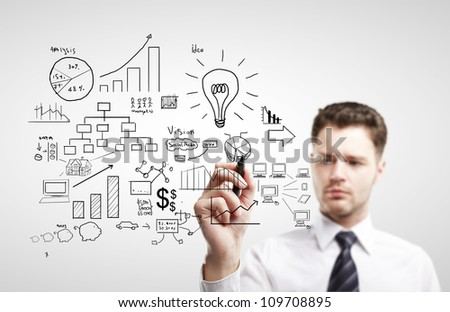 young man drawing plan strategy success - stock photo