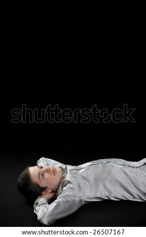 Young man dreaming to his future life - stock photo