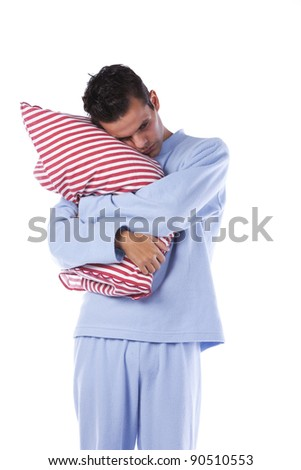 Young man dress with nightclothes (isolated on white) - stock photo
