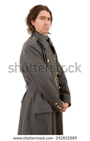 young man dressed as russian military, studio picture - stock photo
