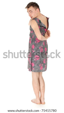 young man dressed as woman in dress with flowers - stock photo