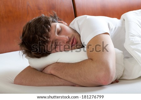 Young man during dreaming about something nice - stock photo