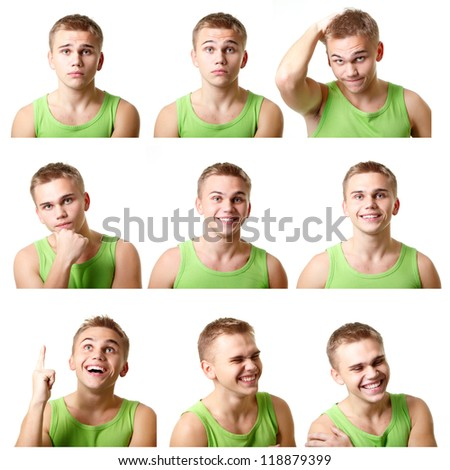 young man emotional faces, expressions set over white background - stock photo