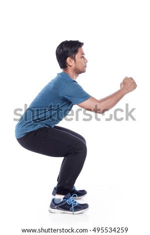 young man  exercising fitness workout lunges crouching isolated on white background