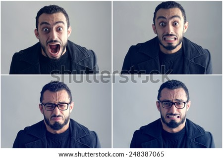 Young Man Expressing different Emotions - stock photo