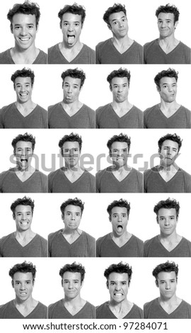 Young man face expressions composite black and white isolated. - stock photo