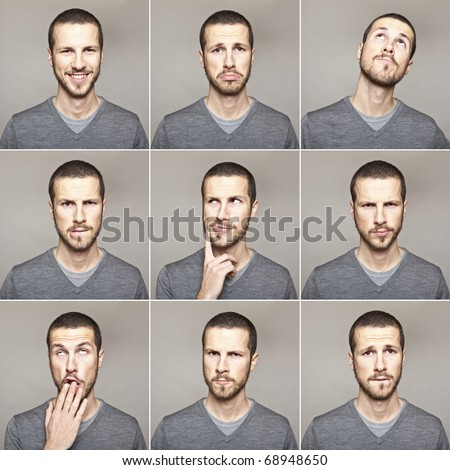 young man face expressions composite isolated on grey background - stock photo