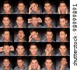young man face expressions composite on dark gray background . handsome young man making faces - stock photo