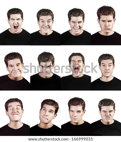 young man face expressions isolated on white background