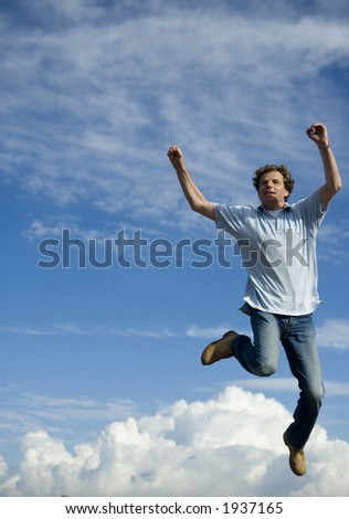 young man falling from the sky - stock photo