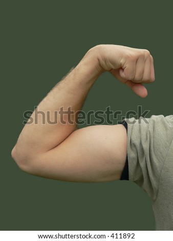 Young Man Flexing Bicep - color, isolated - stock photo