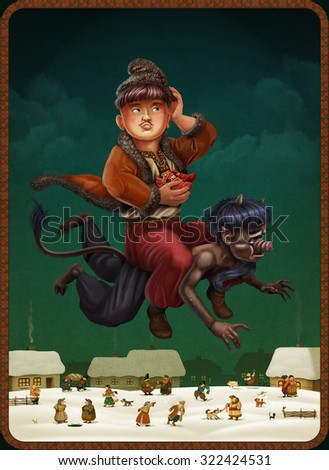 Young man flying on the devil - stock photo