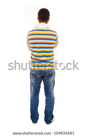 Young man from back, isolated on white - stock photo