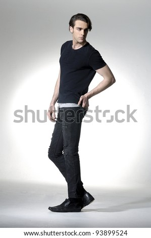 young man full body a in the studio - stock photo