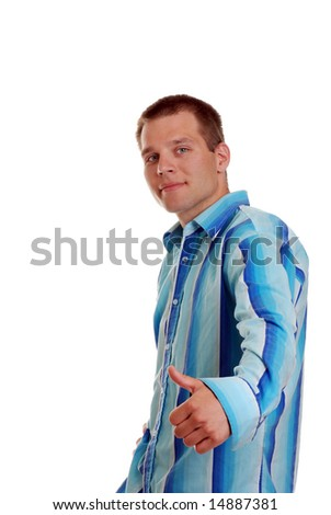 Young Man giving thumbs up in a colorful shirt