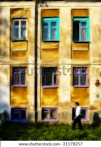 young man goes by unrealistic home - stock photo