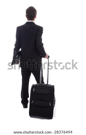 Young man going on vacations, isolated over white - stock photo