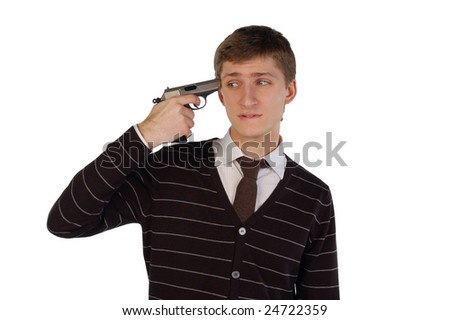 Young man going to shoot himself. Isolated. - stock photo