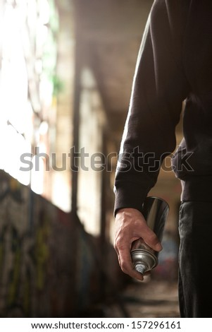 Young man hand detail ready to do a Graffiti - stock photo