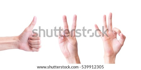 Young man hand show One Two Three for happy concept with white background