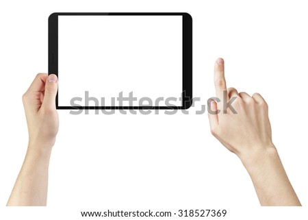 young man hands using tablet pc with blank screen, isolated on white - stock photo
