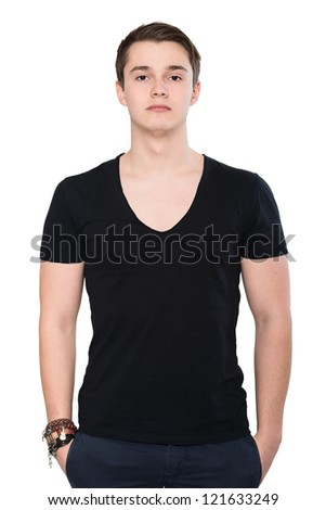 Young man handsome face closeup, sexy guy looking at camera over white background - stock photo