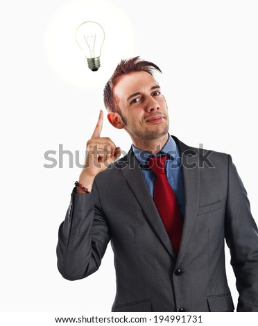 Young man having a good idea - stock photo