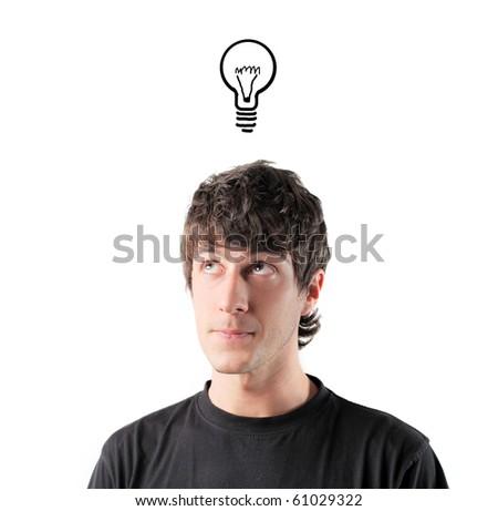 Young man having an idea - stock photo