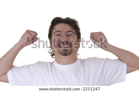 young man having fun in a white background