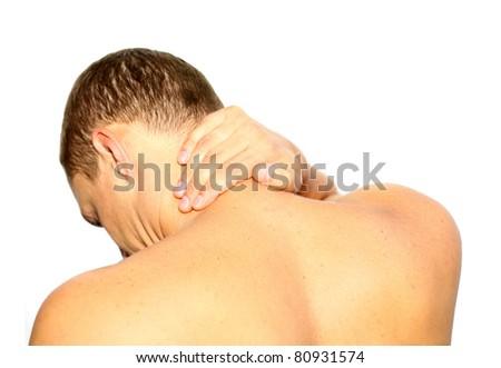 Young man having neck ache - stock photo