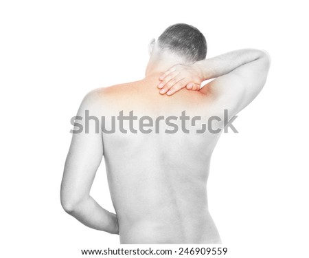 Young man having shoulders pain - stock photo