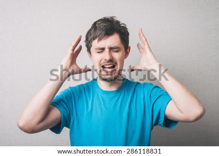 young man headache - stock photo