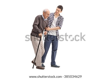 Young man helping a senior gentleman with a cane isolated on white background - stock photo