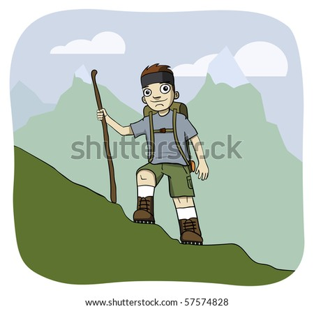 Young man hiking up a mountain with a stick.