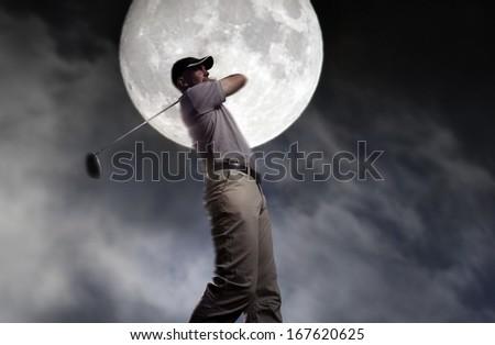 young man hit it hard at night - stock photo