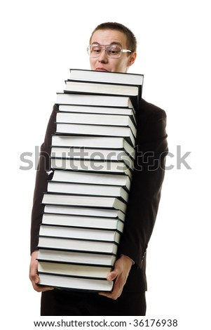 Young man hold huge pile of books wearing glasses and expressing negativity isolated on white