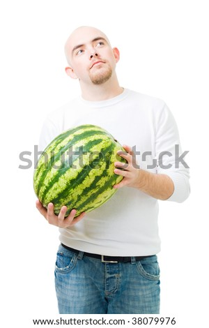 Young man hold watermelon fruit and thinking, in white,isolated
