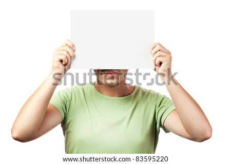 young man holding a blank billboard isolated on white background - stock photo